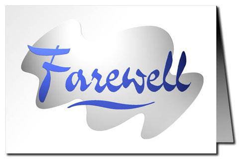 greeting cards farewell card blue silver metallic print