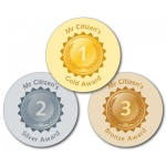 Gold, Silver, Bronze Teacher Stickers