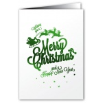 Merry Christmas - Greeting Card - Santa Sleigh