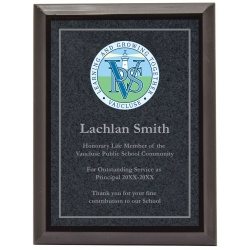 Full Colour Black Plaque With Silver