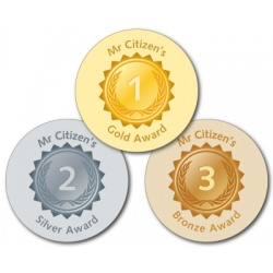 Gold, Silver, Bronze Teacher Stickers