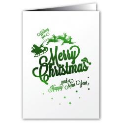 Merry Christmas - Greeting Card - Santa Sleigh